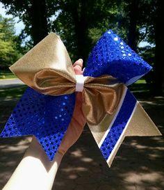 Royal blue and gold cheer bow, fabric cheer bow, cheer bows, team bows