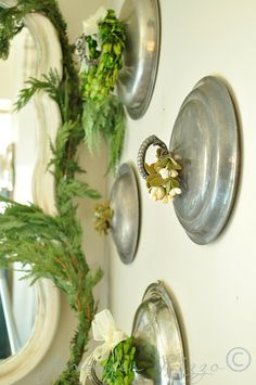 Vintage chaffing dish lids as wall decor