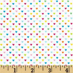 Timeless Treasures Field Day Mini Hearts Multi from @fabricdotcom  Designed for Timeless Treasures, this cotton print is perfect for quilting, apparel and home décor accents. Colors include blue, pink, green, orange, yellow and white.