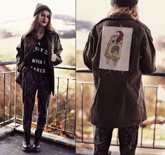 Fifty Over Five Jacket, Feather Hearts Top, Minty Jungle Ombre Beanie, Choies Boots.