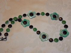 REDUCED Green Flower Necklace by EriniJewel on Etsy, $27.00