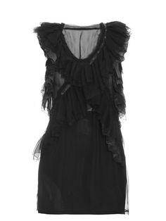 ROBERTO CAVALLI Sleeveless Ruffle Silk-Chiffon Top. #robertocavalli #cloth #top