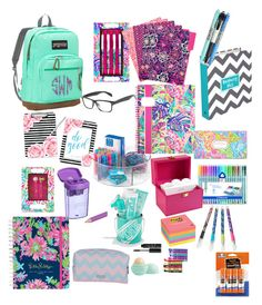 """""""Back to school preppy style """" by amypavon on Polyvore featuring JanSport, Lilly Pulitzer, Skinnydip, NARS Cosmetics, Eos, Under Armour, Sugar Paper, Vera Bradley and Post-It"""