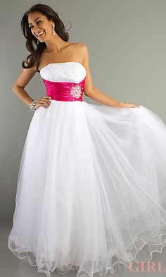 Long Strapless Empire Waist Ball Gown at PromGirl.com