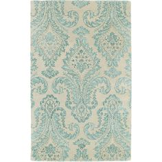 Kaleen Rugs Hand-Tufted Ombre Turquoise Damask Rug ($715) ❤ liked on Polyvore featuring home, rugs, backgrounds, matot, blue, damask rug, blue pattern rug, blue rugs, patterned rugs and blue area rug
