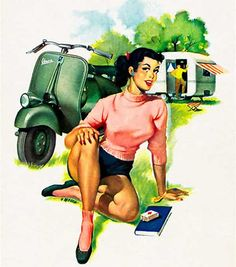 Vespa Pin-Up Girl August 1952 - Mad Men Art: The 1891-1970 Vintage Advertisement Art Collection