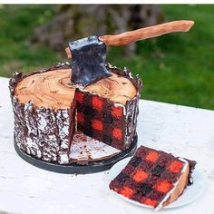Lumberjack Cake from (Cake Design) Cookies Et Biscuits, Cake Cookies, Cupcake Cakes, Jenny Cookies, Kid Cakes, Fancy Cakes, Cute Cakes, Yummy Cakes, Beautiful Cakes