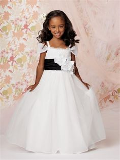 This flower girls dress has a lace bodice with organza bias sleeve. Description from frenchnovelty.com. I searched for this on bing.com/images