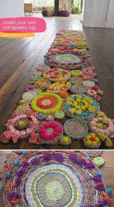 Amazing DIY Rope Rug from Free People {tutorial} Tapestry Weaving, Loom Weaving, Wall Tapestry, Rope Rug, Diy And Crafts, Arts And Crafts, Pom Pom Rug, Cool Wall Art, Pom Pom Crafts