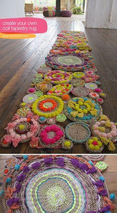 Amazing DIY Rope Rug from Free People {tutorial} Tapestry Weaving, Loom Weaving, Wall Tapestry, Rope Rug, Diy And Crafts, Arts And Crafts, Pom Pom Rug, Cool Wall Art, Deco Boheme