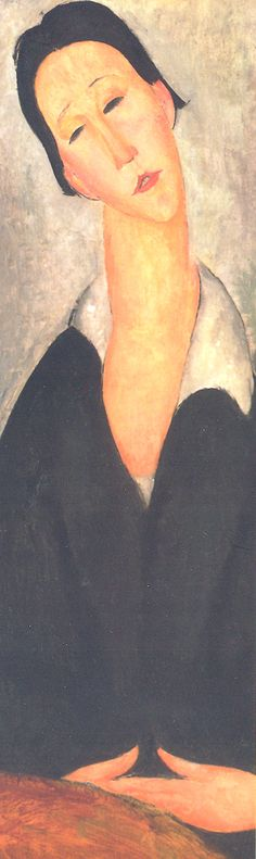 Amadeo Modigliani (Italian, 1884-1920) - Portrait of a Polish Woman, 1919 (detail) - Bookmark from the exhibit Modigliani and His Times at the Museo Thyssen-Bornemisza, Madrid (February-May 2008). the Philadelphia Museum of Art