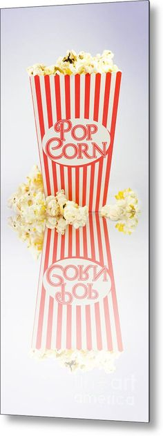 Home Cinema Metal Print featuring the photograph Iconic Striped Popcorn Carton by Jorgo Photography - Wall Art Gallery