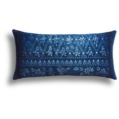 Vintage Patched Indigo Pillow, 11 x 22 in