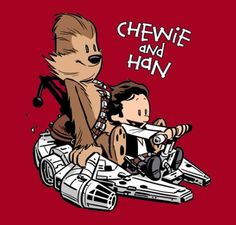 I love the Calvin and Hobbes/Star Wars mashup. Possible tattoo for the husband since it incorporates my love for C and H and his love for Star Wars :) Theme Star Wars, Star Wars Art, Star Trek, Calvin Y Hobbes, Illustration Photo, Millenium, Millennium Falcon, Star Wars Meme, Drawn Art