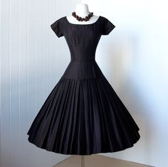 .fabulous dior inspired SUZY PERETTE black and bronze plaid full skirt pin-up cocktail dress with crinoline
