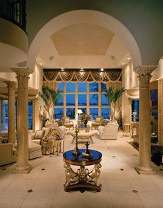 Custom Home: Foyer and Living Room