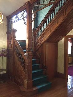 c.1895 Queen Anne staircase - 405 E Burlington Ave, Fairfield, IA 52556