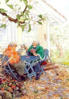 Замечательная серия открыток, в которой поселились веселые и озорные старушки, наполнена позитивом из жизни этих взбалмошных подруг. Ярки...