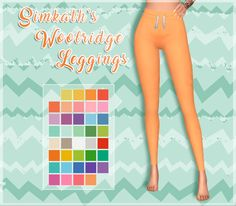 "faerieflower: "" Simkath's Woolridge Leggings Item Details: • Standalone recolor. • Recolored in @eversims Ever so Lovely and Ever So Vibrant palettes. • Original mesh by @simkath. •  Original mesh..."