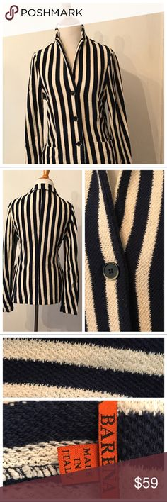 Knit striped blazer by BARENA - size 42 (6) Very elegant and well made BARENA  striped jacket. Made in Italy. Size 42 which corresponds to a 6 in my opinion.  100% cotton Barena Jackets & Coats Blazers