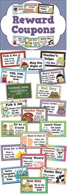 Reward coupons for positive behavior management - 25 different student incentives! by cindypatrick10