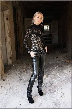 Black patent leather pants and lace top