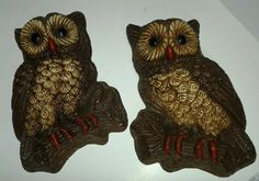 VINTAGE 1970's OWL Retro BIRDS WALL HANGING PLAQUES STYROFOAM PAIR (2)