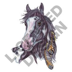 FEATHERED HORSE Embroidery Design from Great Notions   Grand Slam Designs