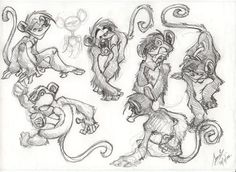 japanese monkeys drawings - Google Search