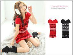 Short-Sleeve Nordic-Print Sweater Dress, Black , One Size - Tokyo Fashion | YESSTYLE