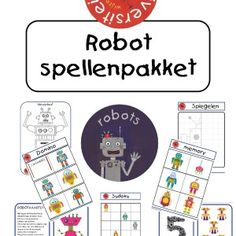 Robot-spellenpakket Dit pakket bestaat uit diverse spellen in het thema robots: domino, kleurplaten, memory, telkaarten, robotkaarten, een spiegelopdracht en sudoku's.