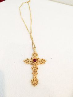 Vintage Gold Tone with Faux Ruby Cross Necklace by AVON