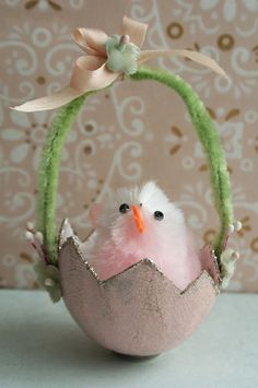 paper mache egg and sweet little chenille chick....