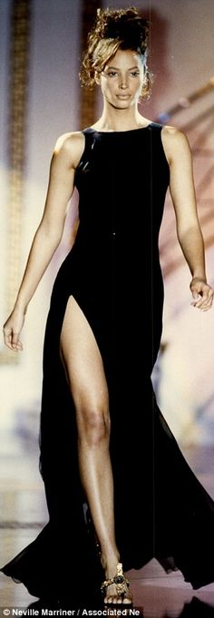 Christy modelling Versace at Paris Fashion Week in 1985