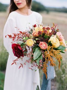 Gold and burgundy wedding bouquet by Bristol Lane | photo by Jenna McElroy