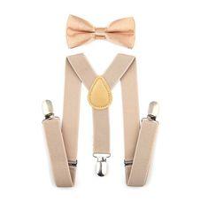 Pumpkin Unisex Kids Adjustable Y-Back Suspenders With Bowtie Set