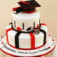 Blue And White Graduation Cakes 2014 White red and black graduation