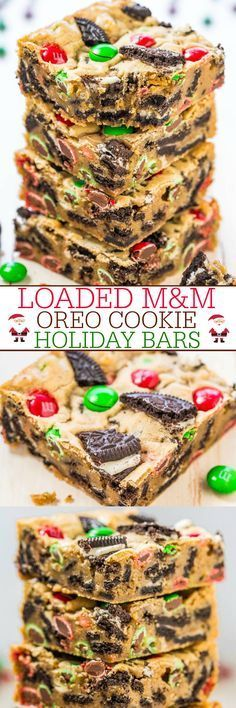 Loaded M&M Oreo Cookie Holiday Bars - Stuffed to the max with M&M's and Oreos!! Easy, no-mixer recipe that's ready in 30 minutes!! A guaranteed hit with everyone!!