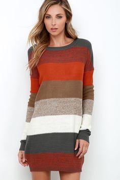Autumn Stripe     Jack by BB Dakota Marilou Striped Sweater Dress at Lulus.com