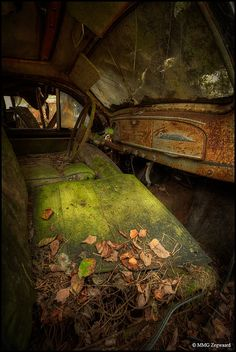 rust - and the green of the moss/mold=florescent! Great Båstnäs car graveyard by Martino ~ NL, via Flickr