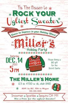 11 pieces of advice to listen to before going to the party invitation with ugly holiday knit sweaters . 11 pieces of advice to listen to before getting into the ugly Holiday Sweater Party invitation temp Ugly Sweater Contest, Ugly Holiday Sweater, Christmas Sweaters, Tacky Sweater, Tacky Christmas, Christmas Stuff, Christmas Ideas, Christmas Favors, Office Christmas