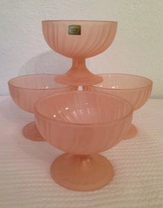 Frosted Rosaline Pink Swirl Arcoroc French by MorningStarVintage