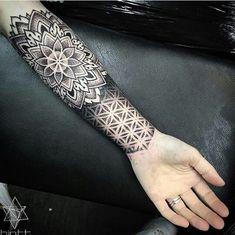 Dotwork Tattoo on arm - Samantha Berg - - Frauen arm tattoo - Tattoos Mandalas, Dotwork Tattoo Mandala, Mandala Tattoo Sleeve, Geometric Mandala Tattoo, Geometric Tattoo Design, Mandala Tattoo Design, Tattoo Sleeve Designs, Top Tattoos, Trendy Tattoos