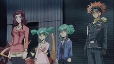 Crow, Leo, Akiza und Luna sehen sich Yuseis und Jacks Duell an.