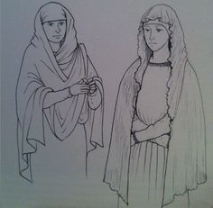 """""""Reconstructions of the long Later Phase veils as opposed to the shorter Migration Period veil. Ref' Cloth and Clothing in Early Anglo-Saxon England: AD 2006 Penelope Walton-Rodgers."""" (I have a mighty need for the one on the left) Anglo Saxon Clothing, Celtic Clothing, Medieval Clothing, Historical Clothing, Anglo Saxon Kingdoms, Biblical Costumes, 11th Century, Medieval Fashion, Period Outfit"""
