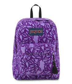 JanSport High Stakes School Backpack - PURPLE NIGHT JUNGLE ADVENTURE