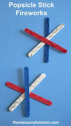 Popsicle stick fireworks craft for of july or memorial day by Craft Stick Crafts, Crafts To Do, Crafts For Kids, Children Crafts, 4th Of July Games, Fourth Of July, Patriotic Crafts, July Crafts, Preschool Themes