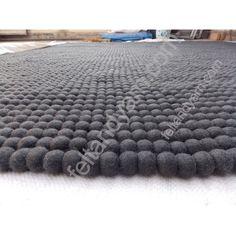 grey felt ball rug | > Home & Decor > Felt Ball Rug > Dark Grey Rectangular felt ball rug ...