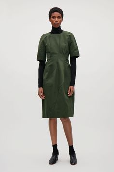 ba9f8de1d7b COS image 1 of Dress with voluminous sleeves in Dark Green Contemporary  Fashion