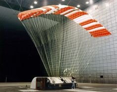 The Pioneer Aerospace Parafoil (Advanced Recovery System II), undergoes testing in the world's largest wind tunnel, the 80 x 120 Foot Tunnel at NASA's Ames Research Center, Mountain View California.